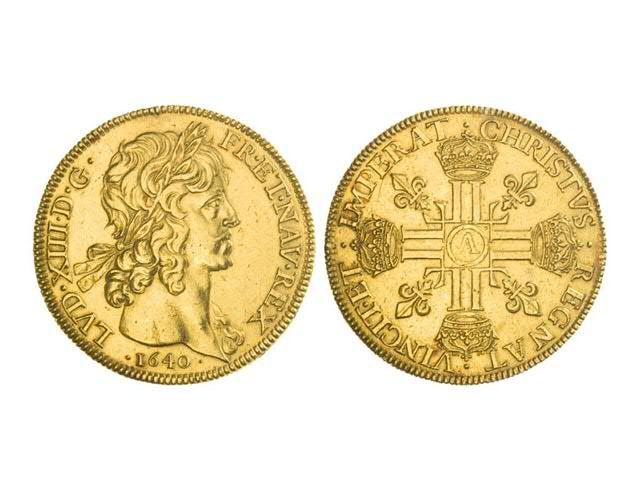 Huit louis, 1640, à la tête laurée et à la tranche striée (53,22