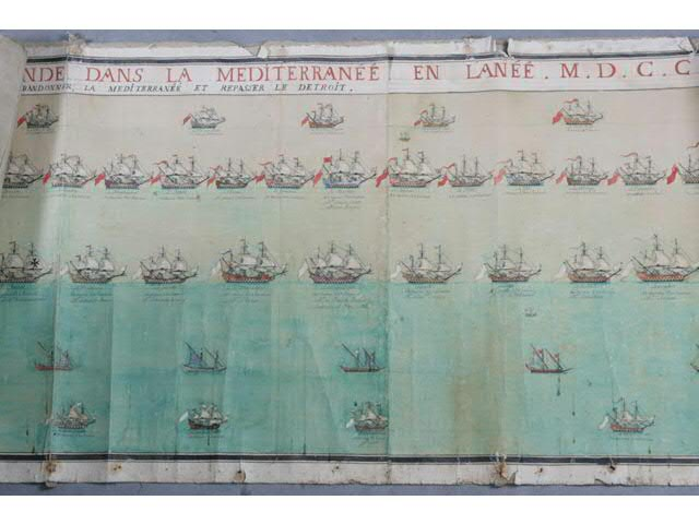 SPECTACULAIRE PANORAMA DE LA MARINE  1704 (6.5 X 0.65 m) « Ordre