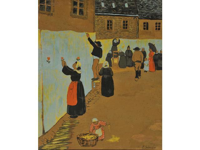 """Paul SERUSIER (1864-1927) """"La Fête Dieu à Chateauneuf du Faou"""" technique"""