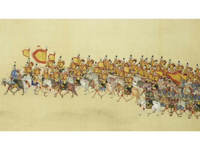 Détail de la peinture impériale Qing : « La Grande Revue », IV