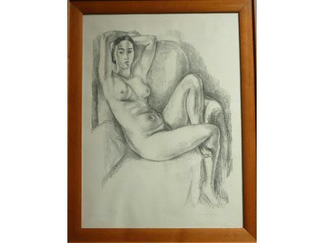 """MATISSE Henri"""" Nu assis bras levé""""  Lithographie N° 29/50  74x 54.5"""