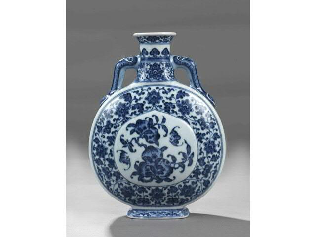 """CHINE. Epoque QIANLONG  (1736 - 1795 Gourde de pélerin """"bian hu"""""""