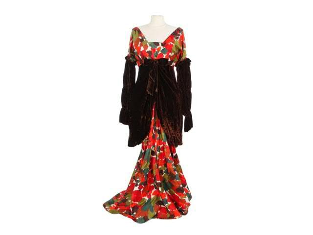 Arletty, Maxime (1958) : robe en soie imprimée à motifde feuillage