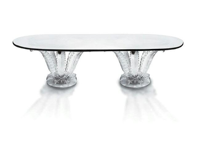 LALIQUE, Table monumentale aux deux cactus LALIQUE  Table monumentale