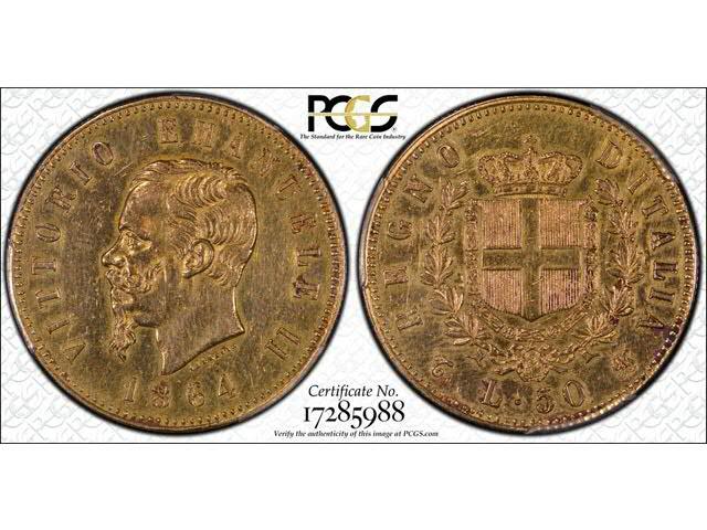 50 lires d Italie, 1864    Pièce en or authentique, qualifiée  Genuine