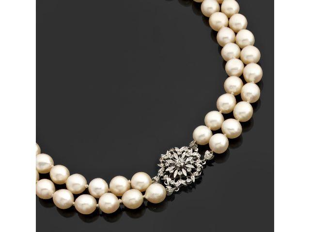 collier choker form de 72 perles de culture sur deux. Black Bedroom Furniture Sets. Home Design Ideas