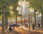 """CORTES Edouard  (1882-1969) """"LA PLACE DU PARC ET L ABBAYE AUX HOMMES"""
