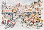 Charles MALLE (1935) Péniches sur la Seine Aquarelle signée en bas