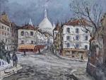 L.P. Robert LAVOINE (1916-1999). RUE NORVINS. Gouache. H: 50 cm x