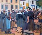 """de BELAY Pierre (1890-1945) """" Marché à Concarneau """" Huile sur carton"""