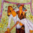 GUEVEL F. LE (1970). LES JEUNES MARIES. Huile sur toile. H: 100 cm