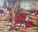 D'ANTY Henry, 1910-1998Arbre et village aux toits rougeshuile sur