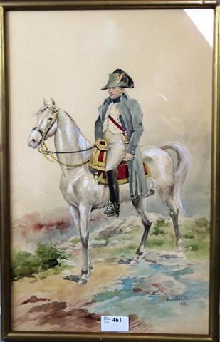 """DETAILLE Henri (XIX-XXème).""""L'Empereur à cheval.""""Aquarelle signée"""