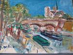 DUBUC Roland, 1924-1998Les quais de Notre Dame de Paris signée en
