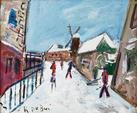 Roland DUBUC (1924-1998) Montmartre, Le moulin de la Galette sous
