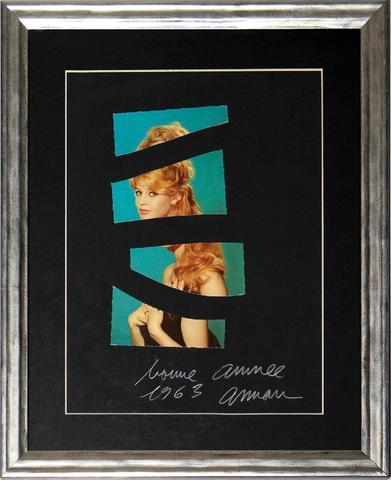 ARMAN (1928-2005). Brigitte Bardot - 1963 . Carte postale découpée.