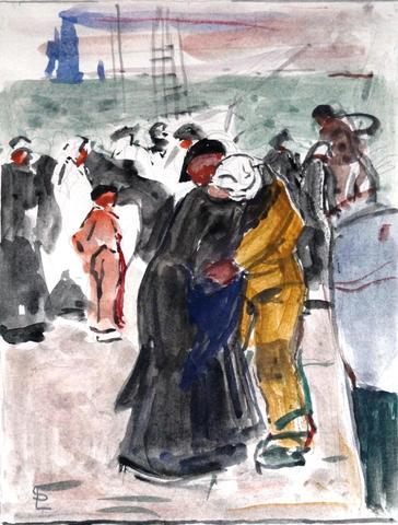 """SIMON Lucien (1861-1945) """" Le retour du pêcheur """" Encre et Aquarelle"""